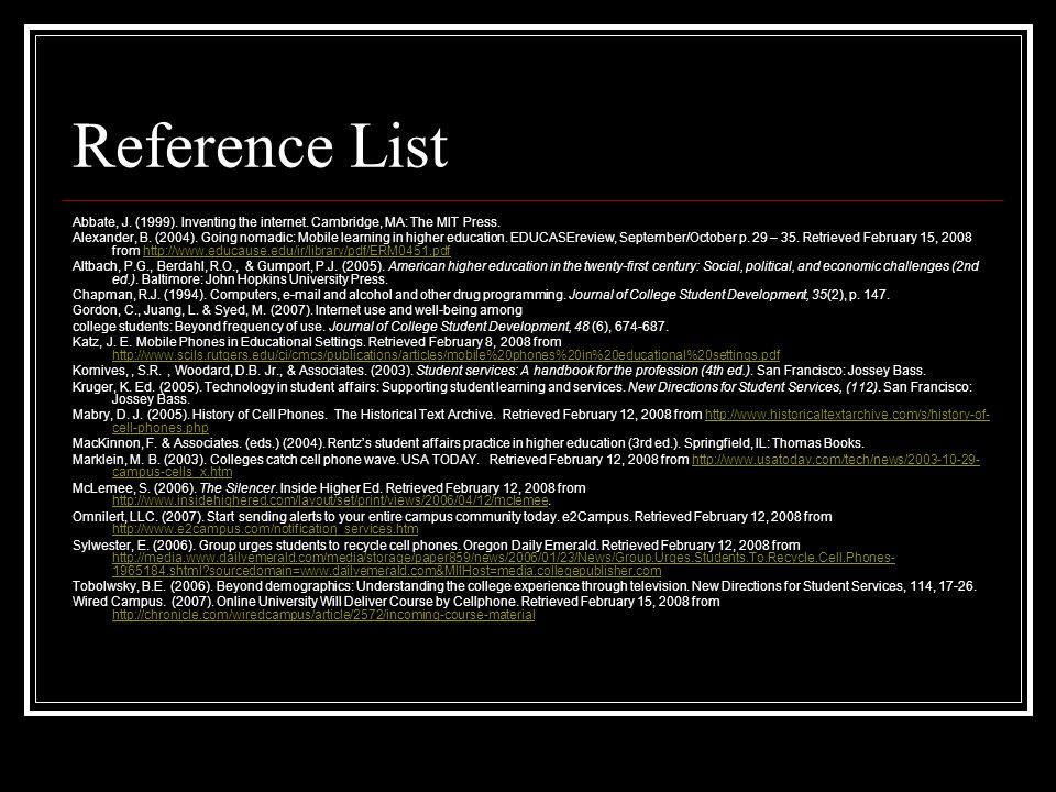 Reference List Abbate, J.(1999). Inventing the internet.