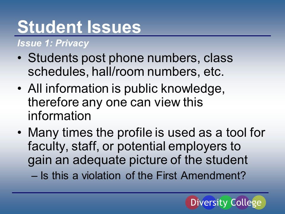 Student Issues Students post phone numbers, class schedules, hall/room numbers, etc.