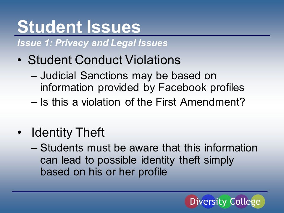 Student Issues Student Conduct Violations –Judicial Sanctions may be based on information provided by Facebook profiles –Is this a violation of the First Amendment.