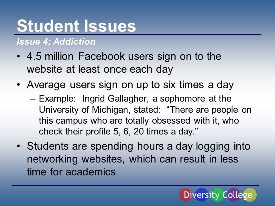 Student Issues 4.5 million Facebook users sign on to the website at least once each day Average users sign on up to six times a day –Example: Ingrid Gallagher, a sophomore at the University of Michigan, stated: There are people on this campus who are totally obsessed with it, who check their profile 5, 6, 20 times a day.
