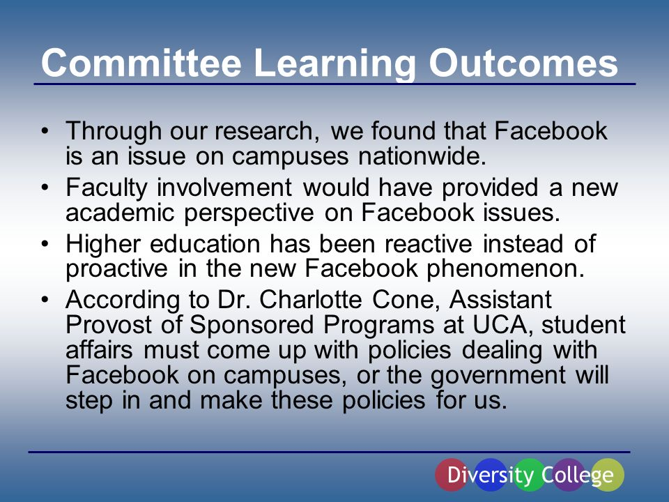Committee Learning Outcomes Through our research, we found that Facebook is an issue on campuses nationwide.