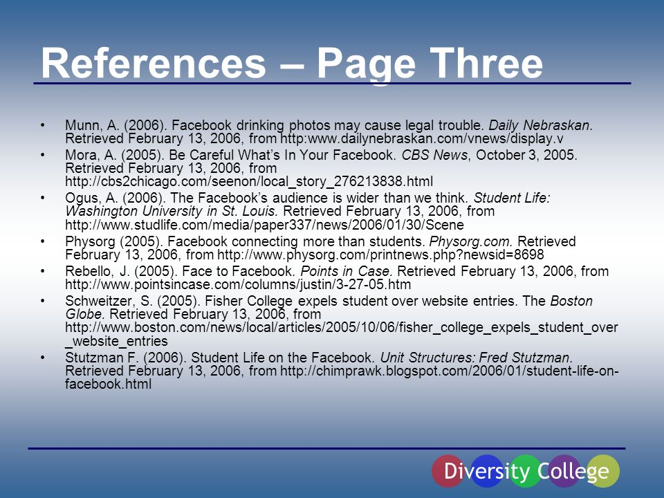References – Page Three Munn, A. (2006). Facebook drinking photos may cause legal trouble.