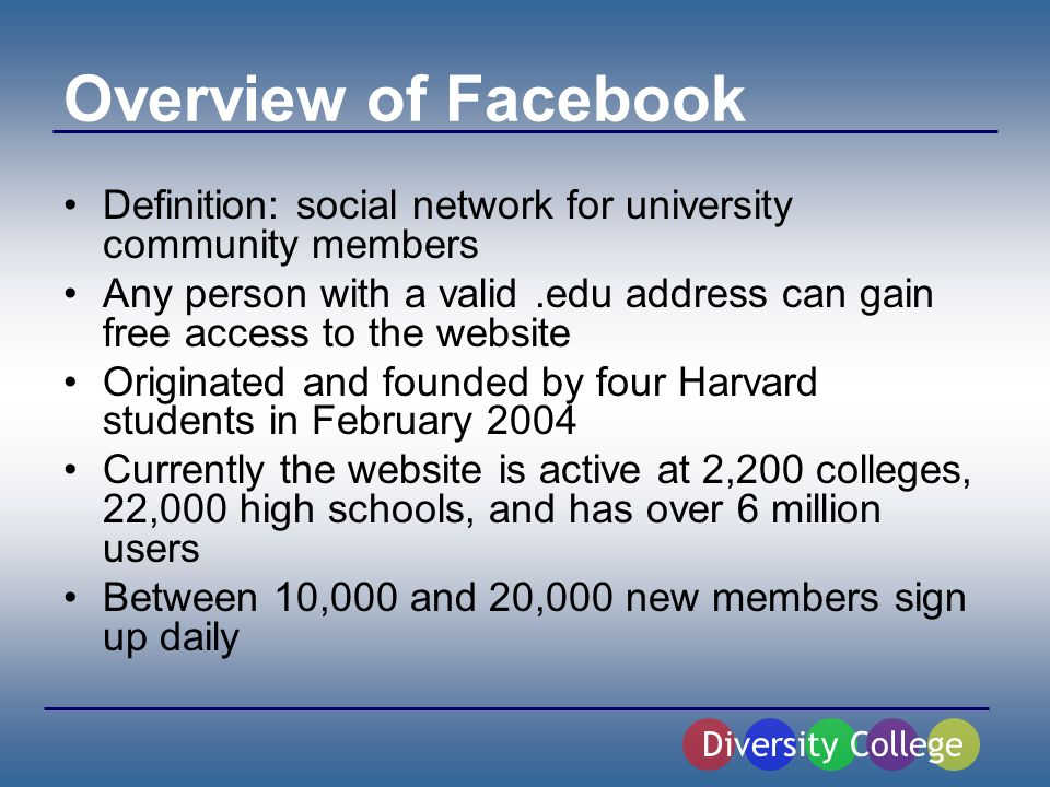 Features of Facebook Diversity College Creation of Personal Profile Friends List Groups and Events On/Off Campus Messages May Include but not limited to: City, Gender, Academic Concentration, Birthday, Hometown/State, High School, Relationship Status, Sexual Orientation, Political Views, Intended Vote, Interests, and an about me section - Ability to search globally for other users - Option to accept or deny a friend request - Create a detail of how you know the friend - Members can create and join groups - Groups can be online versions of real campus organizations or fictitious groups - Gives student ability to create parties or events and invite other users - Allows members to send private messages to friends, similar to an email - Poking feature used to gain attention of other members