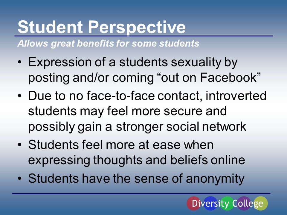 Student Perspective Expression of a students sexuality by posting and/or coming out on Facebook Due to no face-to-face contact, introverted students may feel more secure and possibly gain a stronger social network Students feel more at ease when expressing thoughts and beliefs online Students have the sense of anonymity Diversity College Allows great benefits for some students