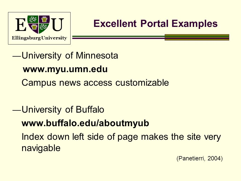 E U Ellingsburg University Excellent Portal Examples University of Minnesota www.myu.umn.edu Campus news access customizable University of Buffalo www