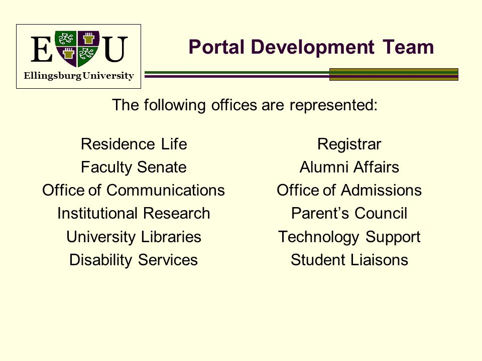 E U Ellingsburg University Portal Development Team Residence Life Faculty Senate Office of Communications Institutional Research University Libraries