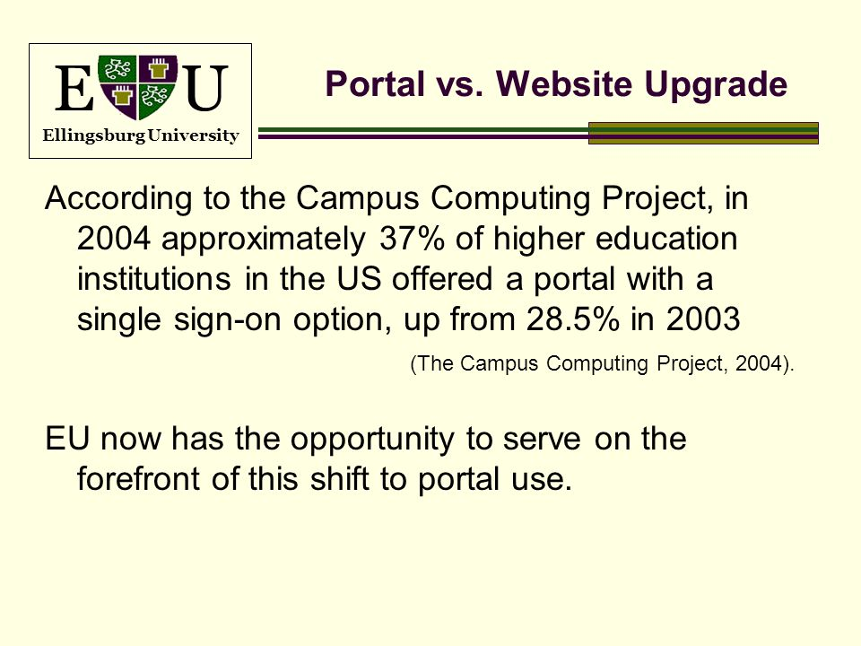 E U Ellingsburg University Portal vs. Website Upgrade According to the Campus Computing Project, in 2004 approximately 37% of higher education institu