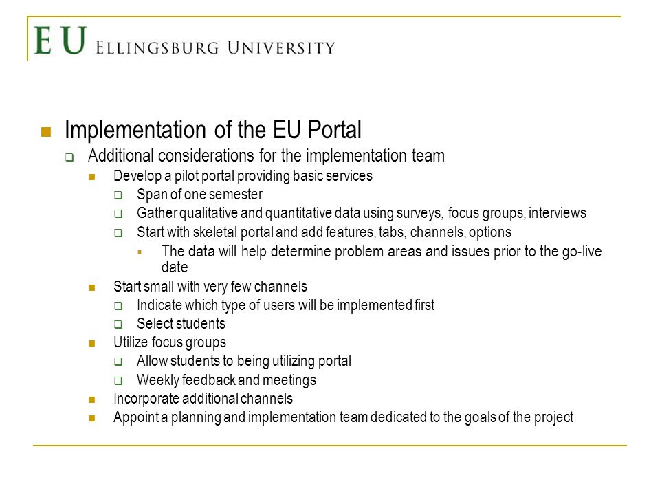 Implementation of the EU Portal Additional considerations for the implementation team Develop a pilot portal providing basic services Span of one seme