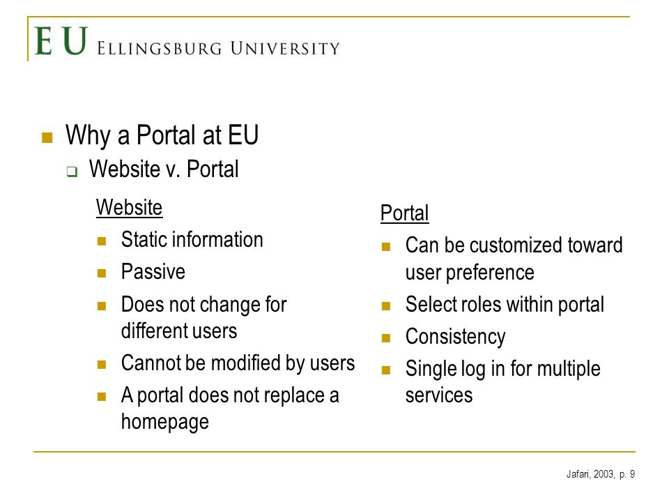 Why a Portal at EU Website v. Portal Website Static information Passive Does not change for different users Cannot be modified by users A portal does