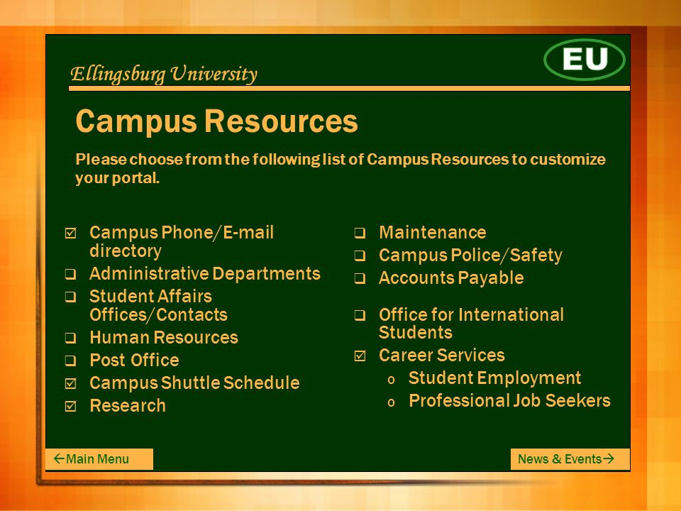 Ellingsburg University Campus Resources Please choose from the following list of Campus Resources to customize your portal.