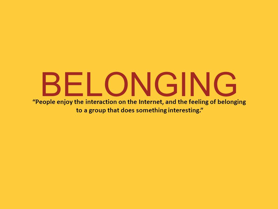 BELONGING People enjoy the interaction on the Internet, and the feeling of belonging to a group that does something interesting.