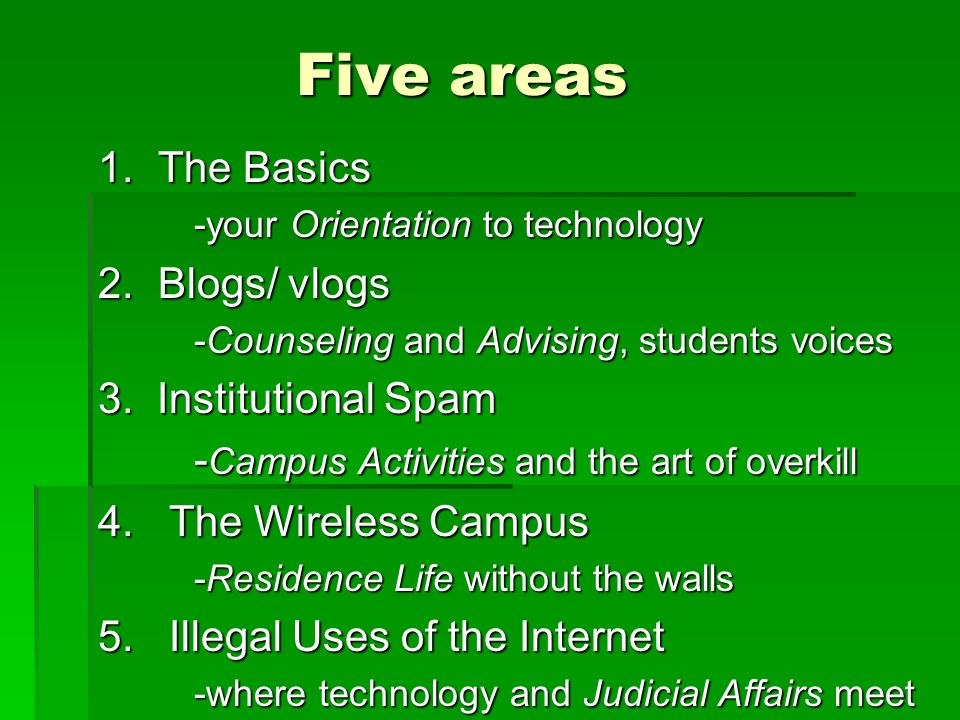 Five areas 1. The Basics -your Orientation to technology 2.