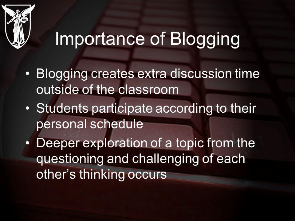 Importance of Blogging Blogging creates extra discussion time outside of the classroom Students participate according to their personal schedule Deeper exploration of a topic from the questioning and challenging of each others thinking occurs
