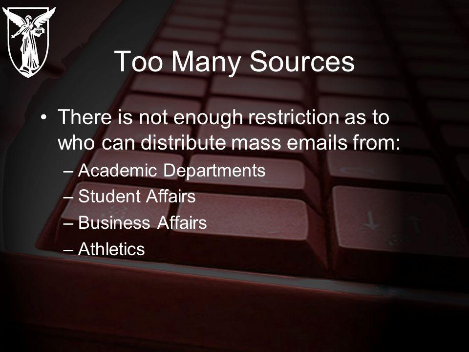 Too Many Sources There is not enough restriction as to who can distribute mass  s from: –Academic Departments –Student Affairs –Business Affairs –Athletics