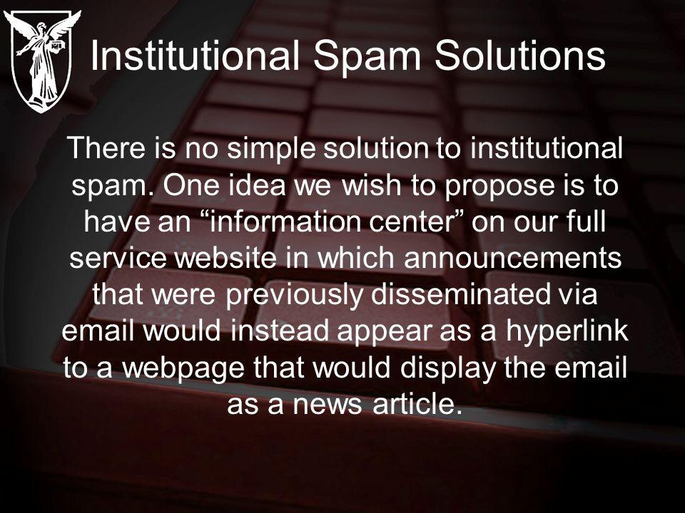 Institutional Spam Solutions There is no simple solution to institutional spam.