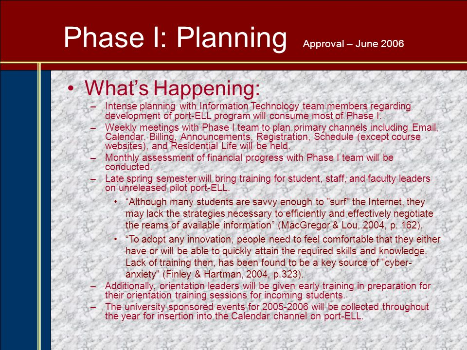 Phase I: Planning Approval – June 2006 Whats Happening: –Intense planning with Information Technology team members regarding development of port-ELL program will consume most of Phase I.
