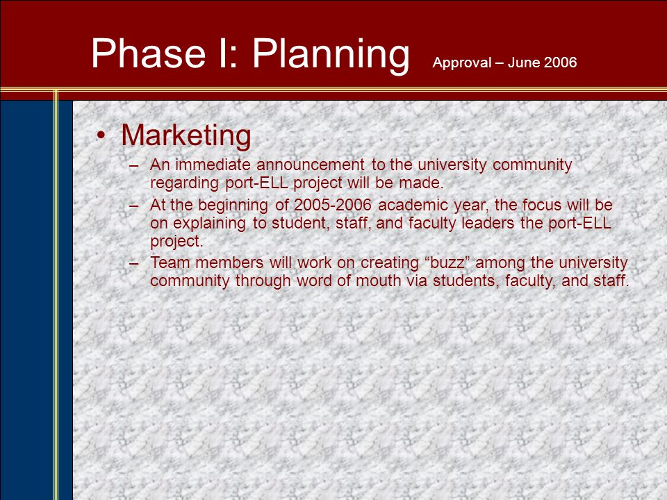 Phase I: Planning Approval – June 2006 Marketing –An immediate announcement to the university community regarding port-ELL project will be made.