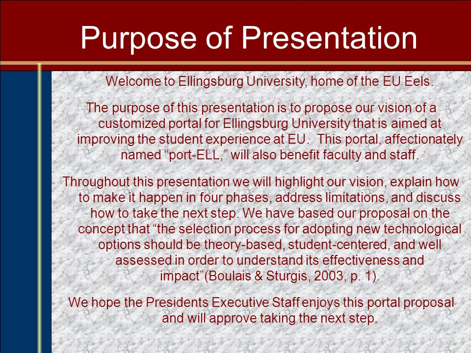 Faculty/Staff port-ELL This is what faculty/staff will see after inputting their personal log-in information and signing on to their port-ELL via the EU home page.