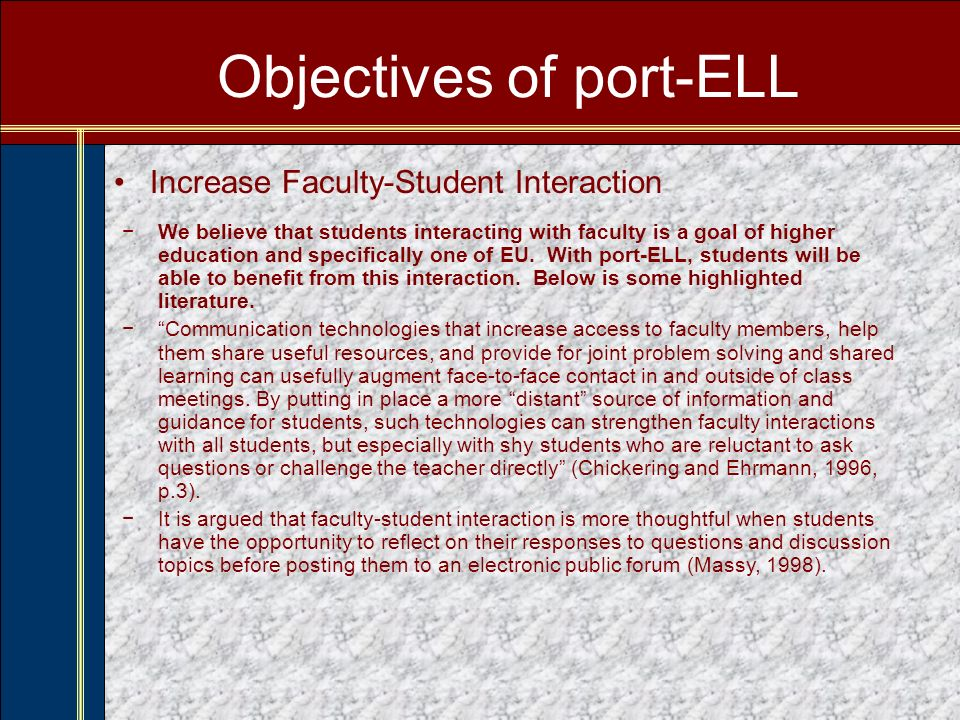 Objectives of port-ELL Administrators and faculty have struggled with reaching the needs of this new type of student.