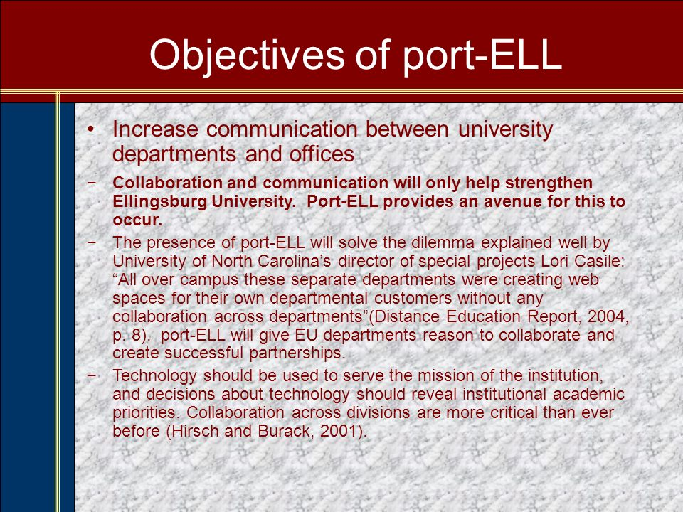 Phase II: Going Live June 2006 – December 2006 Whats Happening: –Basic port-ELL channels go live for all students, faculty, and staff in June.