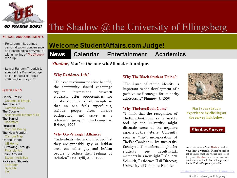 The Shadow @ the University of Ellingsberg Welcome StudentAffairs.com Judge.