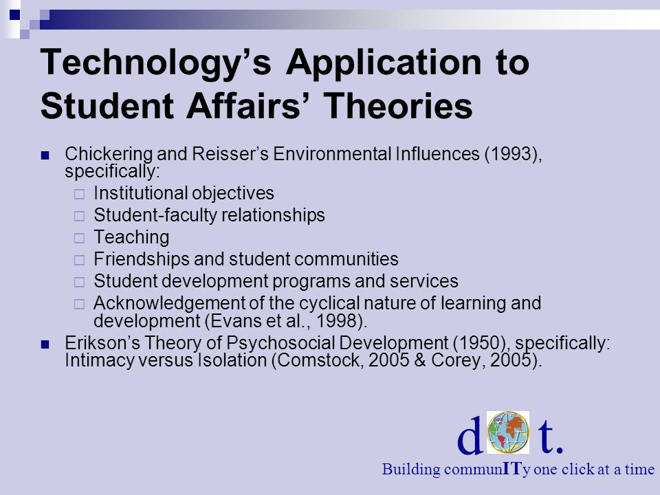 Technologys Application to Student Affairs Theories Chickering and Reissers Environmental Influences (1993), specifically: Institutional objectives Student-faculty relationships Teaching Friendships and student communities Student development programs and services Acknowledgement of the cyclical nature of learning and development (Evans et al., 1998).