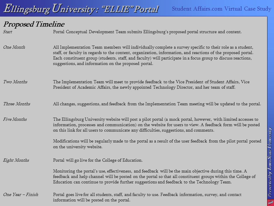 Presented by I owa S tate U niversity E llingsburg U niversity : ELLIE Portal Student Affairs.com Virtual Case Study Proposed Timeline StartPortal Conceptual Development Team submits Ellingsburgs proposed portal structure and content.
