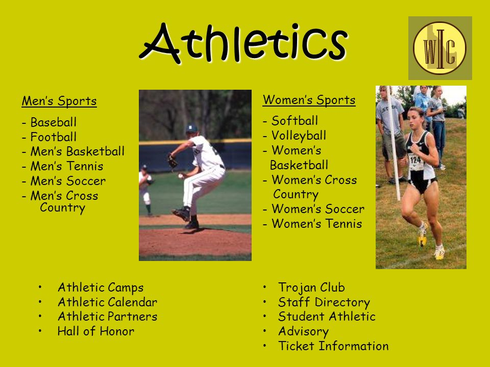 Athletics Mens Sports - Baseball - Football - Mens Basketball - Mens Tennis - Mens Soccer - Mens Cross Country Athletic Camps Athletic Calendar Athletic Partners Hall of Honor Womens Sports - Softball - Volleyball - Womens Basketball - Womens Cross Country - Womens Soccer - Womens Tennis Trojan Club Staff Directory Student Athletic Advisory Ticket Information