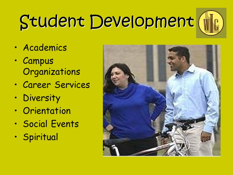 Student Development Academics Campus Organizations Career Services Diversity Orientation Social Events Spiritual