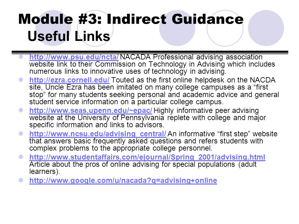 Module #3: Indirect Guidance Useful Links http://www.psu.edu/ncta/ NACADA Professional advising association website link to their Commission on Techno