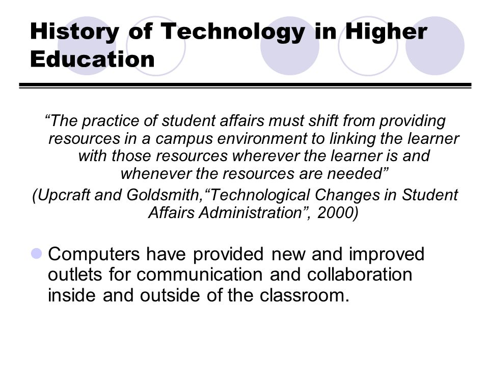 History of Technology in Higher Education, cont.