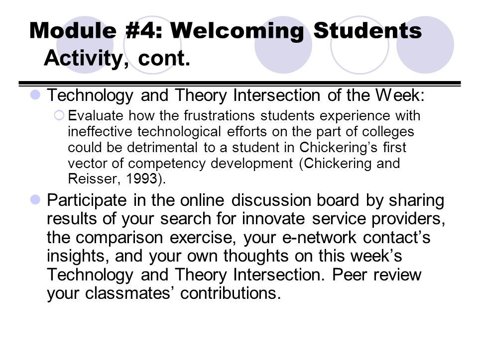 Module #4: Welcoming Students Activity, cont. Technology and Theory Intersection of the Week: Evaluate how the frustrations students experience with i