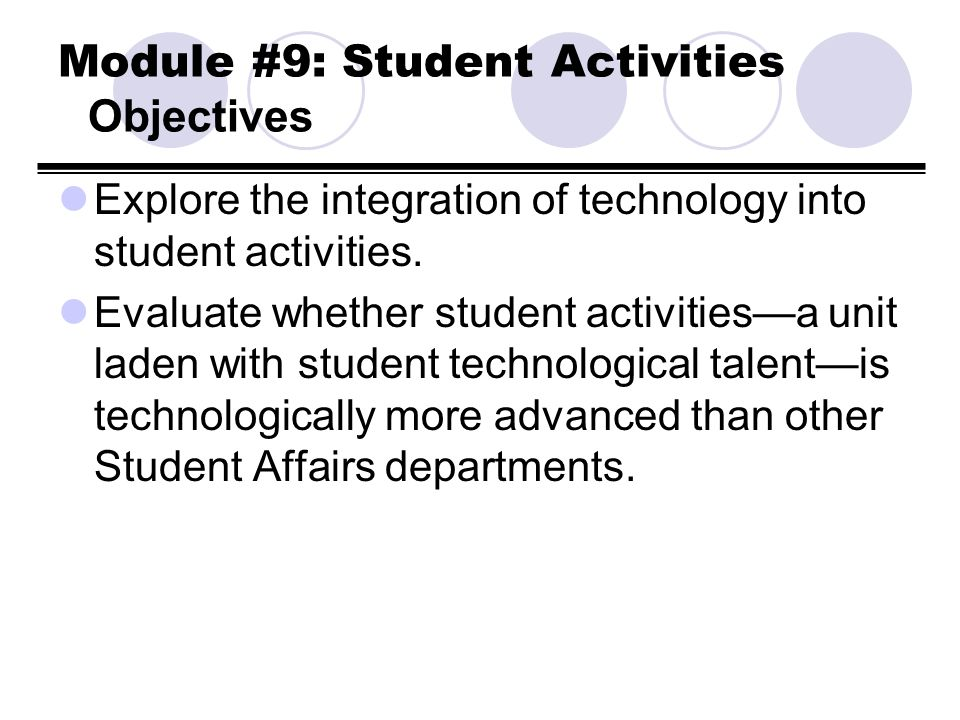 Module #9: Student Activities Objectives Explore the integration of technology into student activities. Evaluate whether student activitiesa unit lade