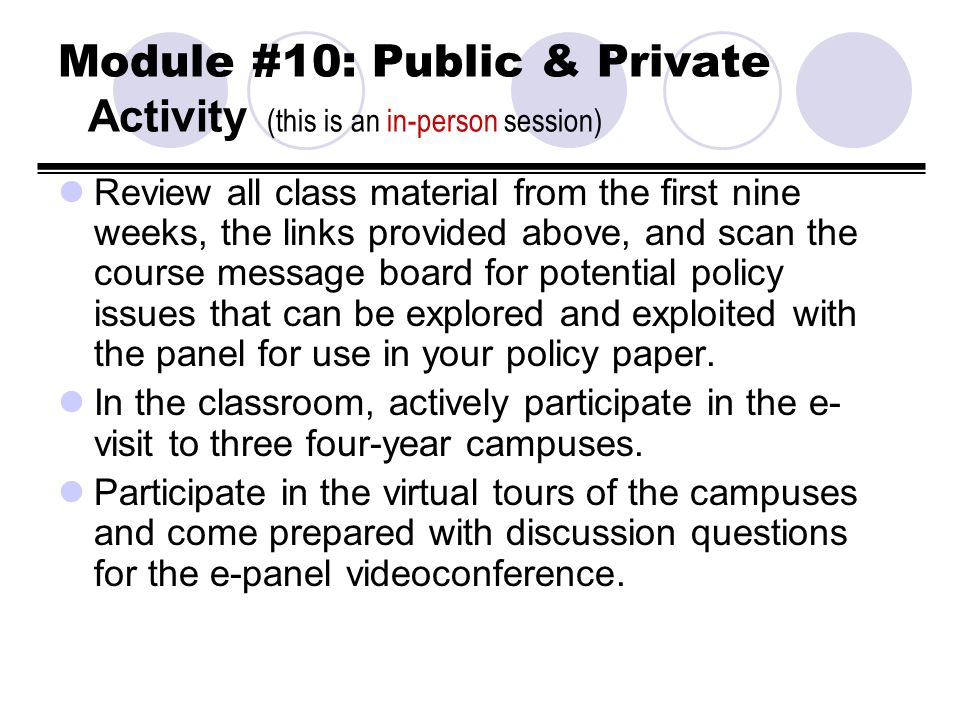 Module #10: Public & Private Activity (this is an in-person session) Review all class material from the first nine weeks, the links provided above, an