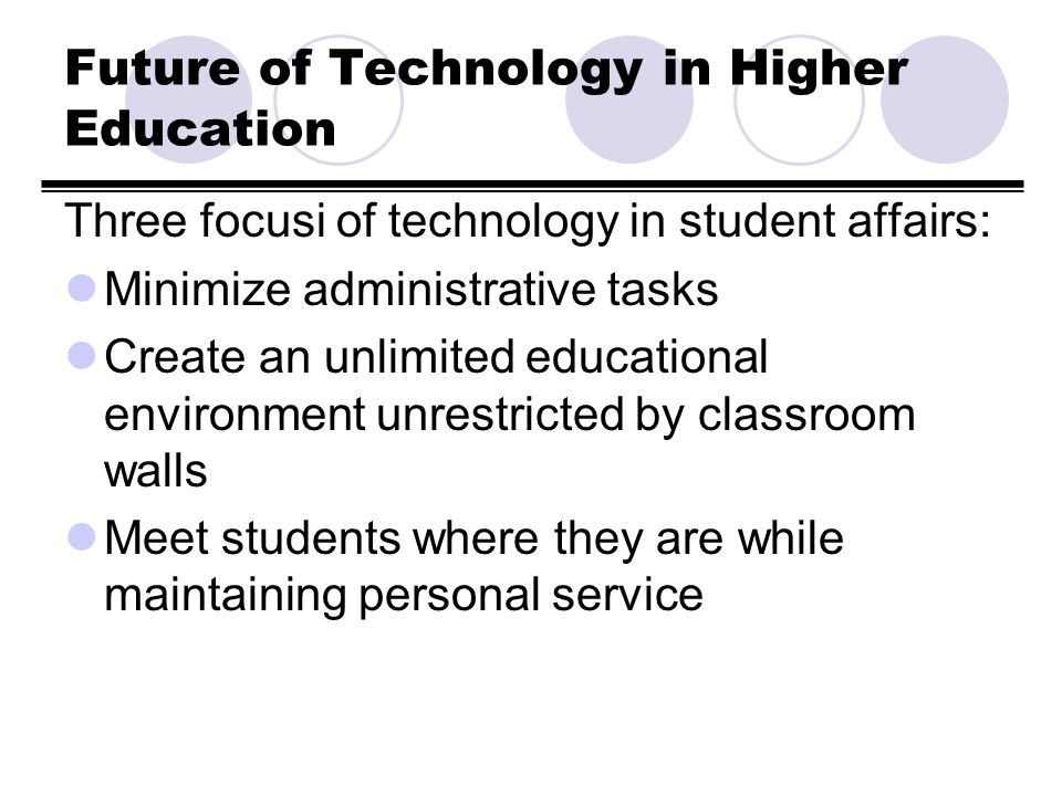Brief Overview of Technology in Student Affairs Course Rationale: Provide an updated introduction to Student Affairs focusing on areas of specialization, theories of Student Development and the impact of technology.