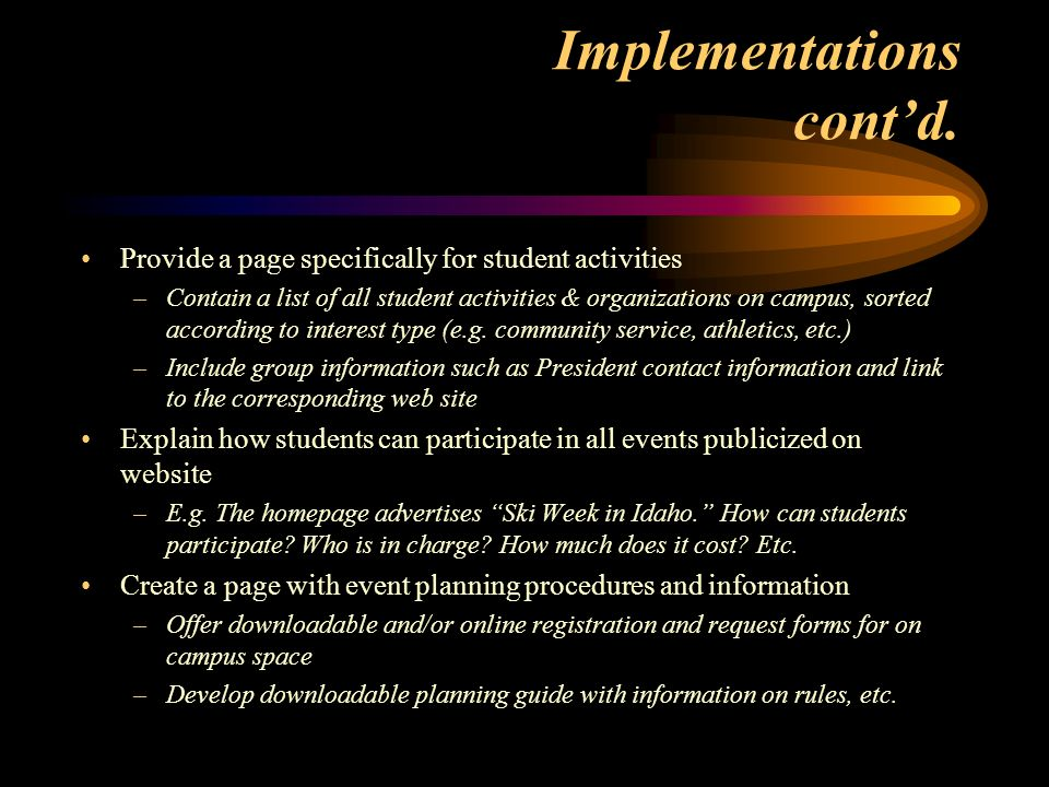 Implementations contd.