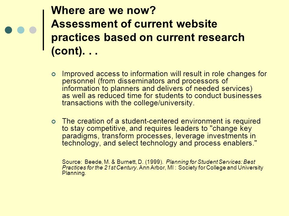 Where are we now. Assessment of current website practices based on current research (cont)...