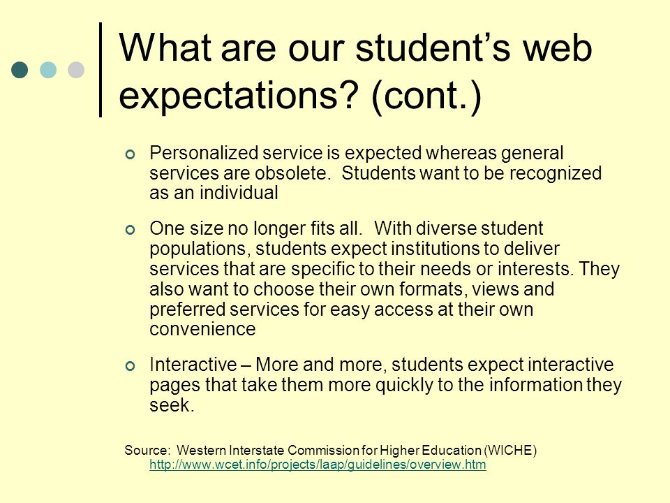 What are our students web expectations.
