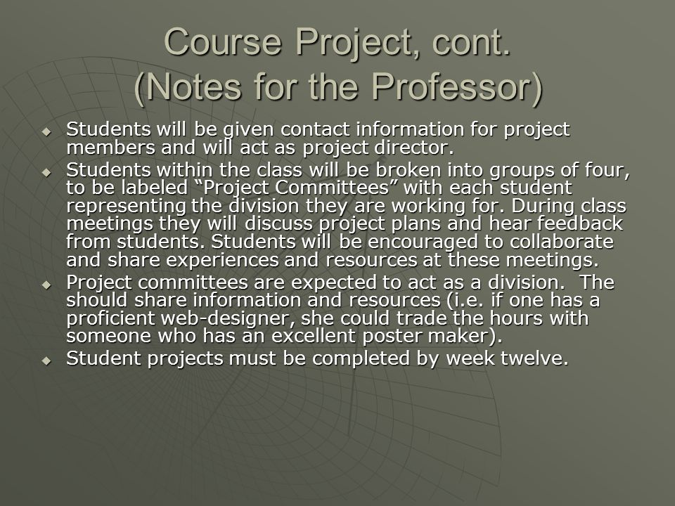 Course Project, cont.