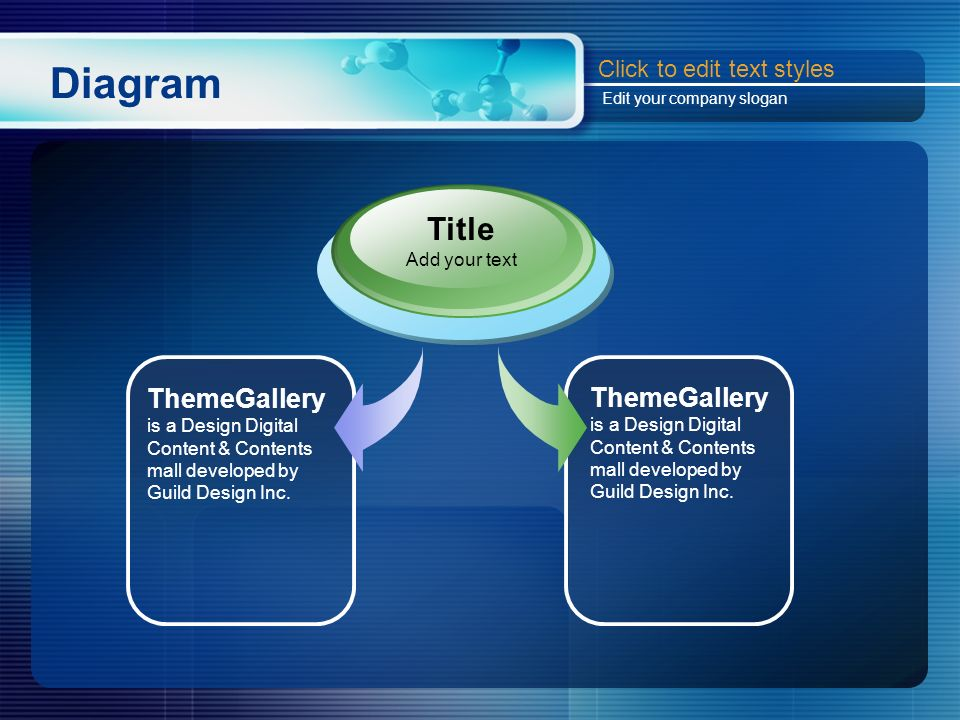 Diagram ThemeGallery is a Design Digital Content & Contents mall developed by Guild Design Inc. Title Add your text Click to edit text styles Edit you