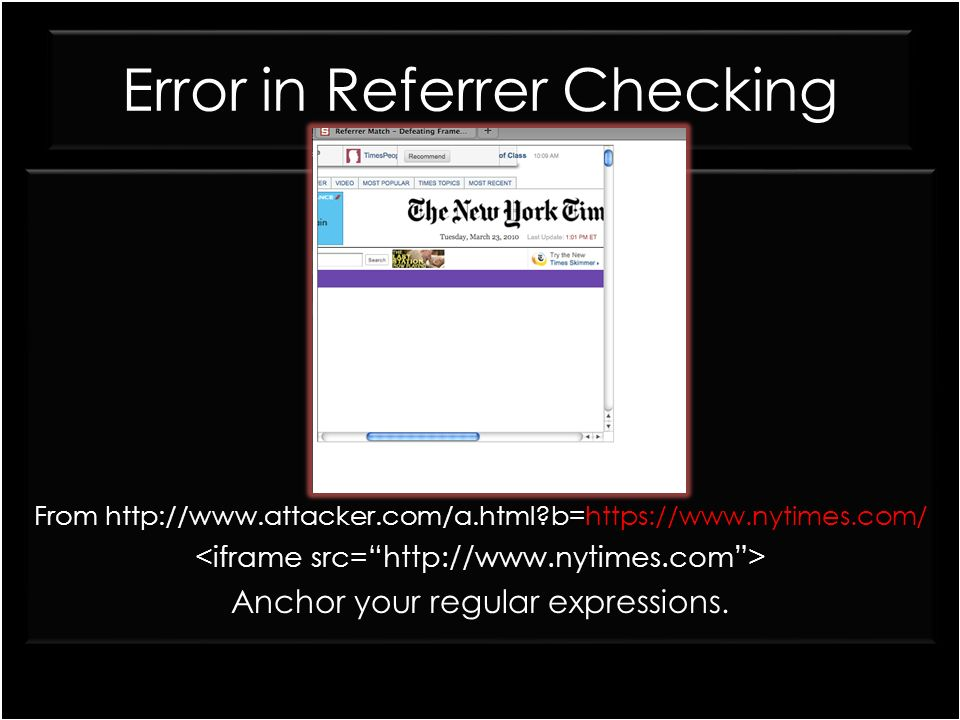 Error in Referrer Checking From http://www.attacker.com/a.html?b=https://www.nytimes.com/ Anchor your regular expressions. From http://www.attacker.co
