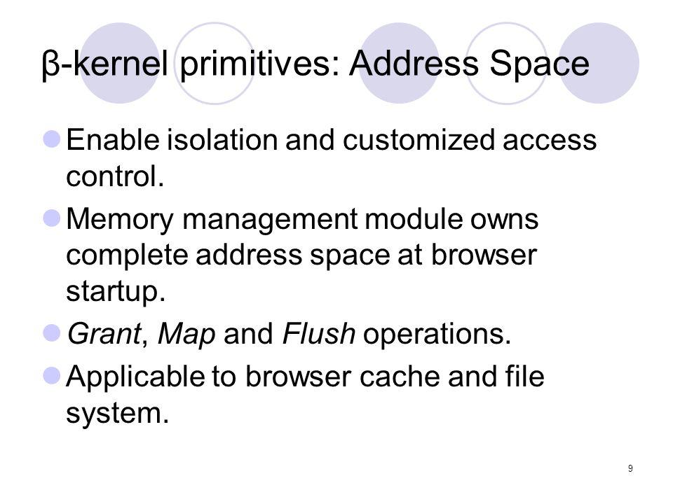 9 β-kernel primitives: Address Space Enable isolation and customized access control.
