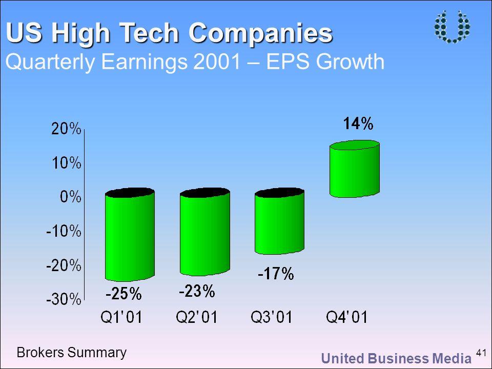 United Business Media 41 US High Tech Companies US High Tech Companies Quarterly Earnings 2001 – EPS Growth Brokers Summary