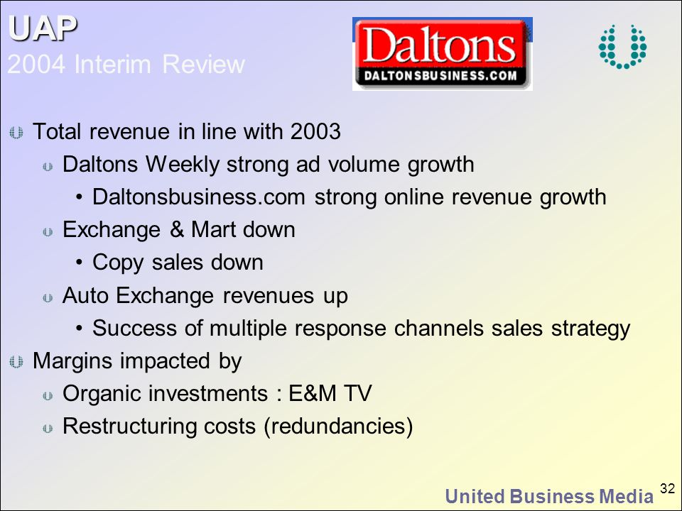 United Business Media 32 UAP UAP 2004 Interim Review Total revenue in line with 2003 Daltons Weekly strong ad volume growth Daltonsbusiness.com strong