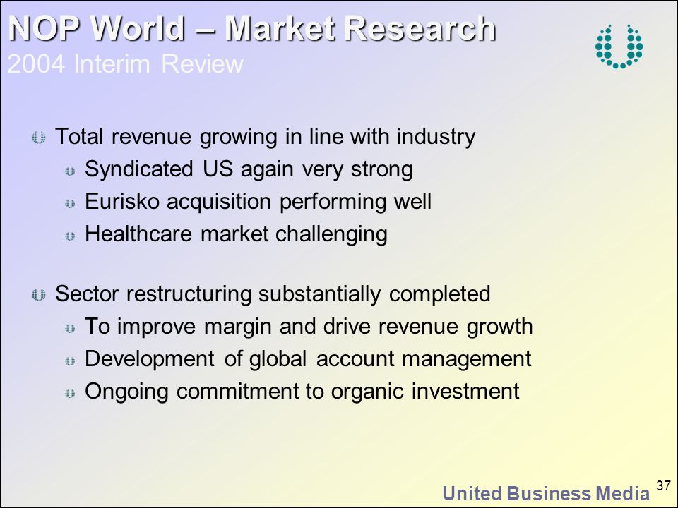 United Business Media 37 NOP World – Market Research NOP World – Market Research 2004 Interim Review Total revenue growing in line with industry Syndi