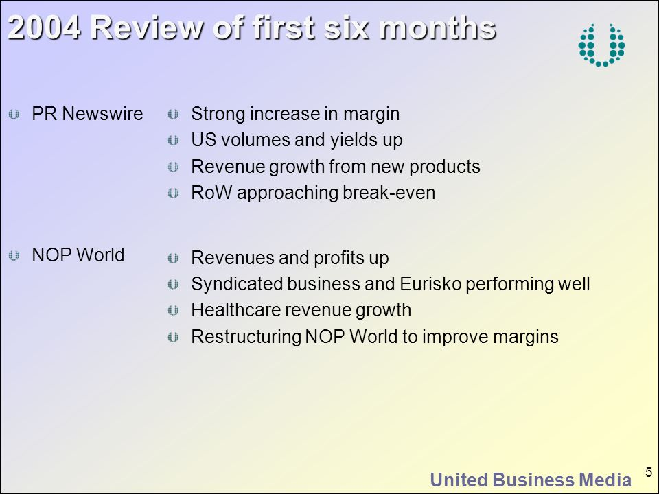 United Business Media 5 2004 Review of first six months Strong increase in margin US volumes and yields up Revenue growth from new products RoW approa