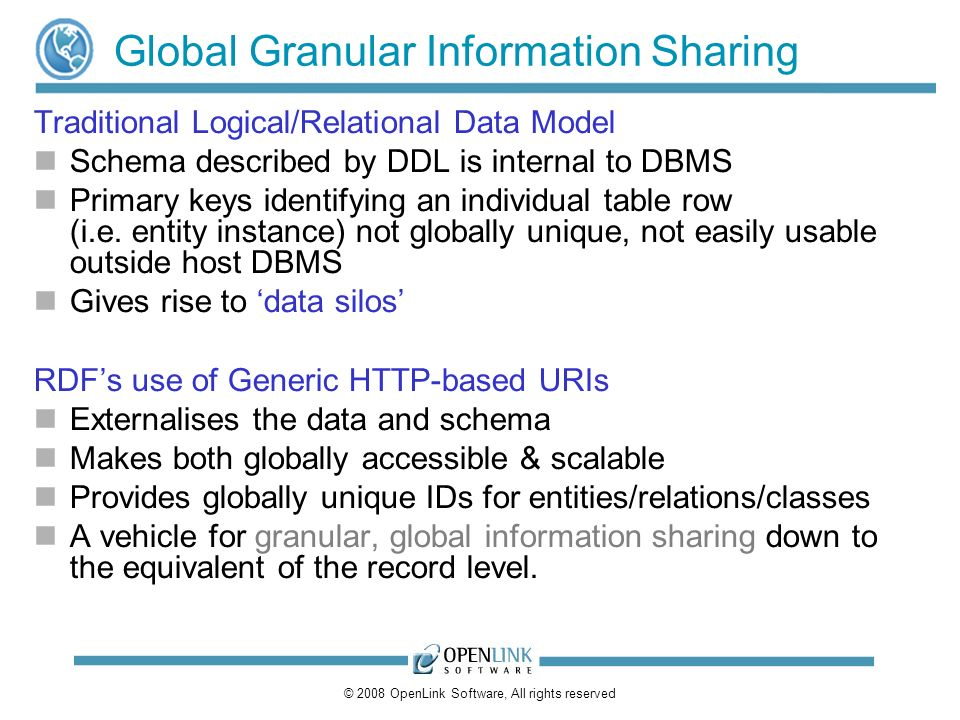 © 2008 OpenLink Software, All rights reserved Global Granular Information Sharing Traditional Logical/Relational Data Model Schema described by DDL is