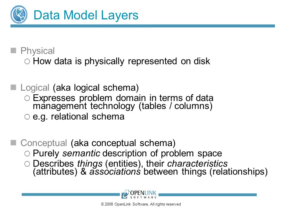 © 2008 OpenLink Software, All rights reserved Data Model Layers Physical How data is physically represented on disk Logical (aka logical schema) Expresses problem domain in terms of data management technology (tables / columns) e.g.