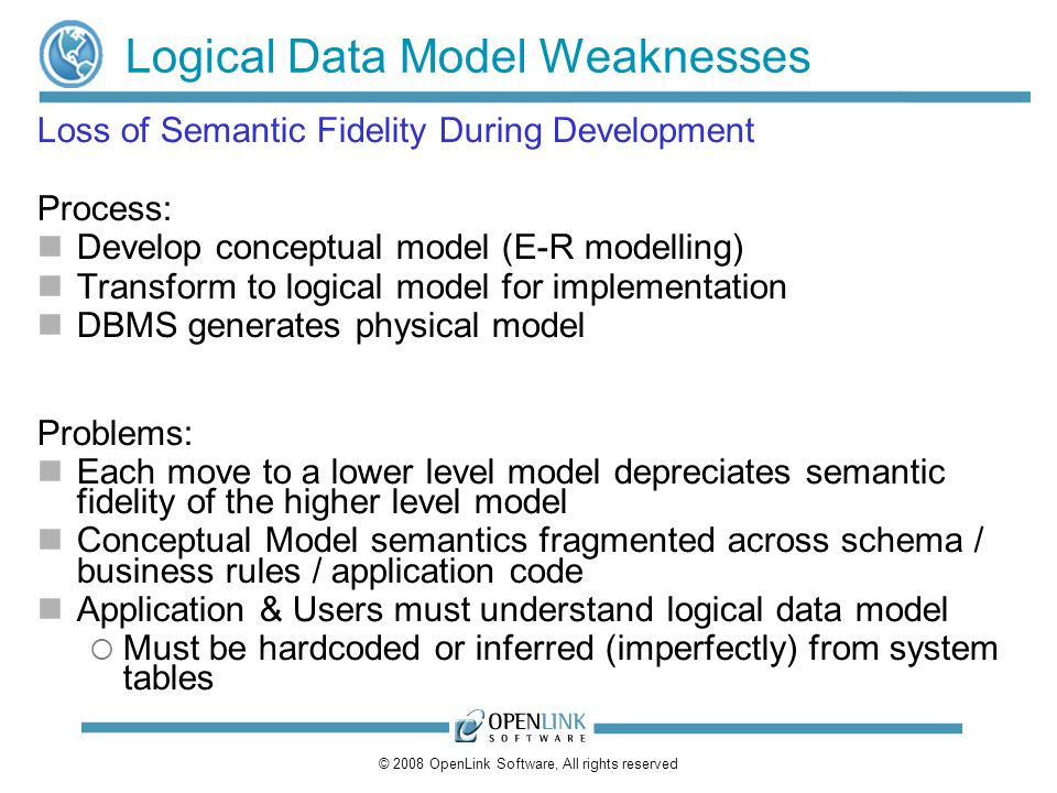 © 2008 OpenLink Software, All rights reserved Logical Data Model Weaknesses Loss of Semantic Fidelity During Development Process: Develop conceptual model (E-R modelling) Transform to logical model for implementation DBMS generates physical model Problems: Each move to a lower level model depreciates semantic fidelity of the higher level model Conceptual Model semantics fragmented across schema / business rules / application code Application & Users must understand logical data model Must be hardcoded or inferred (imperfectly) from system tables