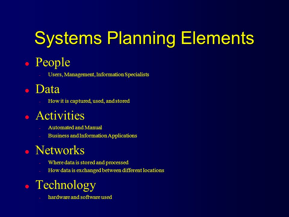 Systems Planning Elements l People – Users, Management, Information Specialists l Data – How it is captured, used, and stored l Activities – Automated